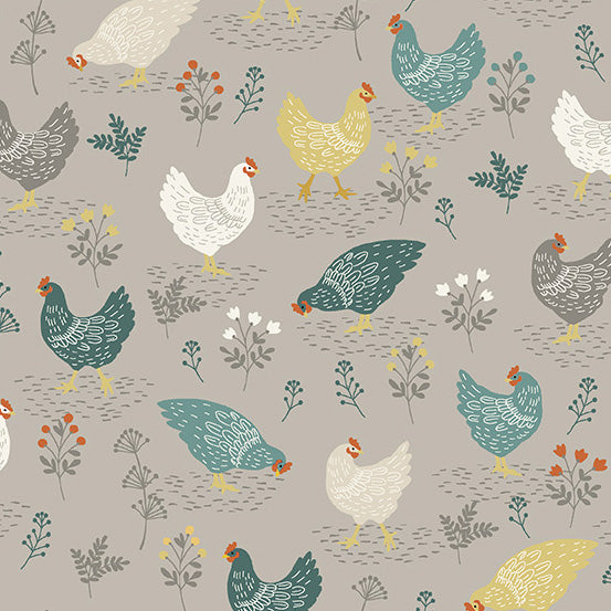 Clara's Garden Chickens on Grey - Priced by the Half Yard - Coming Oct 2020 - brewstitched.com