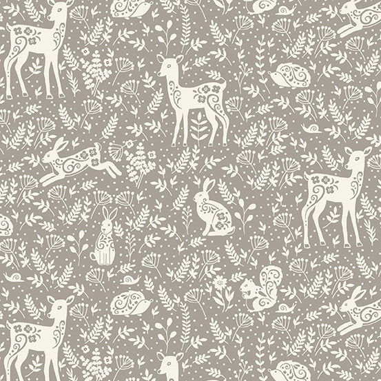 Clara's Garden Animals on Grey - Priced by the Half Yard - Coming Oct 2020 - brewstitched.com
