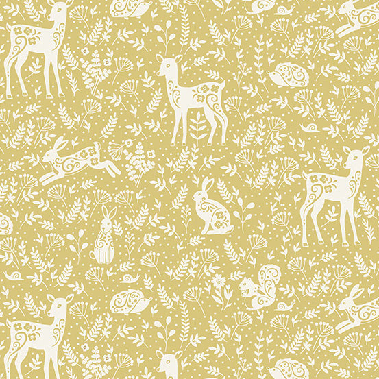 Clara's Garden Animals on Yellow - Priced by the Half Yard - Coming Oct 2020 - brewstitched.com