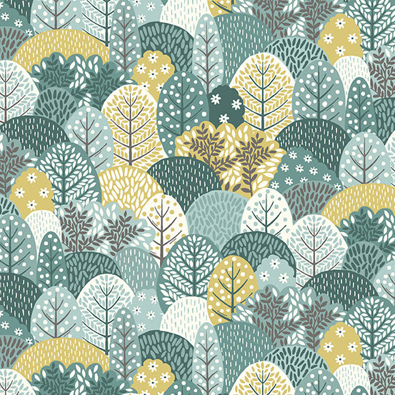 Clara's Garden Blue Trees - Priced by the Half Yard - Coming Oct 2020 - brewstitched.com