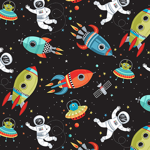 Outer Space Scene on Black - Priced by the Half Yard - brewstitched.com