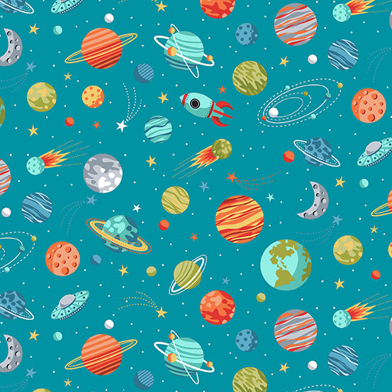 Outer Space Planets on Blue - Priced by the Half Yard - Coming Oct 2020 - brewstitched.com