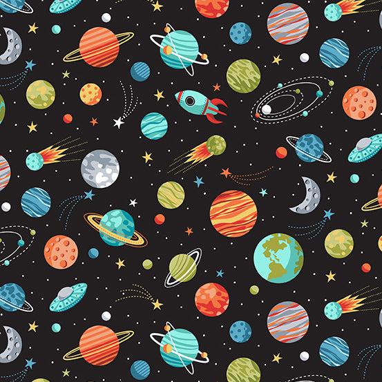 Outer Space Planets on Black - Priced by the Half Yard - Coming Oct 2020 - brewstitched.com