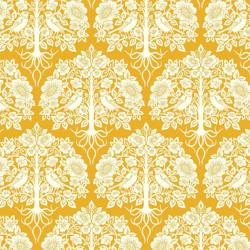 True Kisses Damask Yellow - Priced by the Half Yard - brewstitched.com
