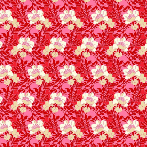 True Kisses Flowers Red RAYON - Priced by the Half Yard - brewstitched.com