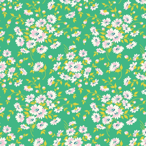 True Kisses Daisy Teal - Priced by the Half Yard - brewstitched.com