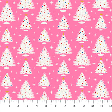 Peppermint Christmas Trees on Pink - Priced by the Half Yard - Expected June 2021 - brewstitched.com