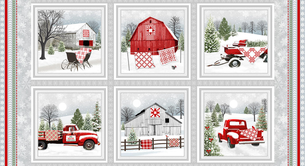 Holiday Heartland Barns & Trucks In Blocks Panel - brewstitched.com