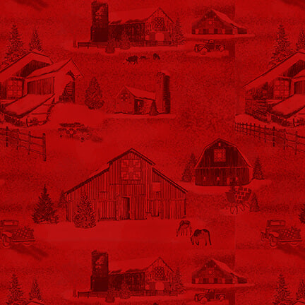Holiday Heartland Red Monotone Barns - Priced by the Half Yard - brewstitched.com