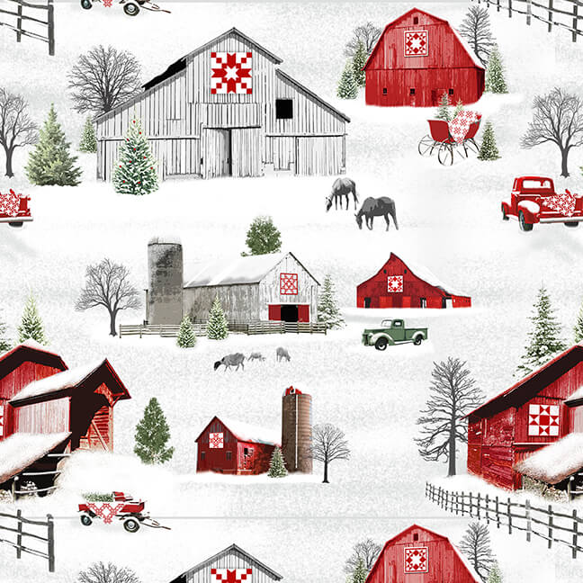 Holiday Heartland Barns & Trucks Scenic - Priced by the Half Yard - brewstitched.com