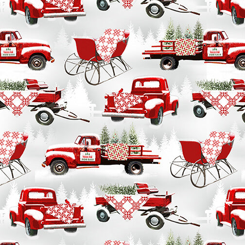 Holiday Heartland Grey/red Trucks Allover - Priced by the Half Yard - brewstitched.com