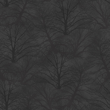 Holiday Heartland Dark Grey Trees Tonal Tossed - Priced by the Half Yard - brewstitched.com