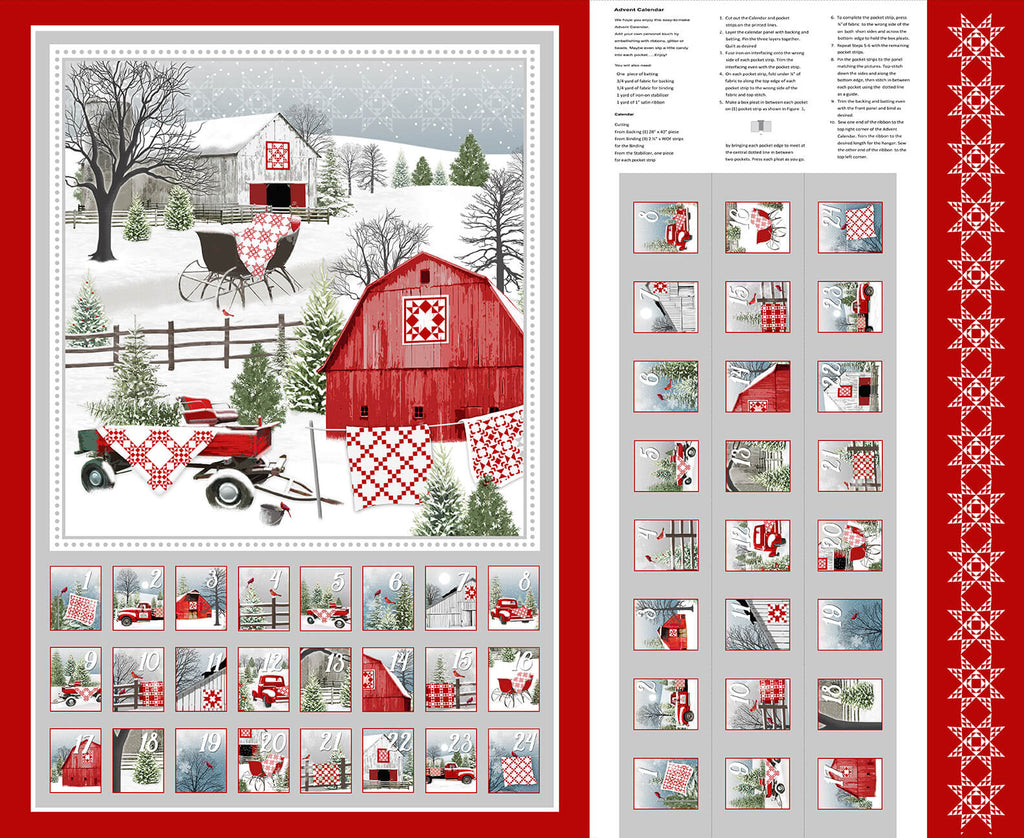 Holiday Heartland 36 inch Advent Calendar Panel - brewstitched.com
