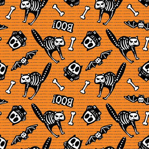 Glow Ghosts Tossed Bones of Motifs Orange - Priced by the Half Yard - brewstitched.com