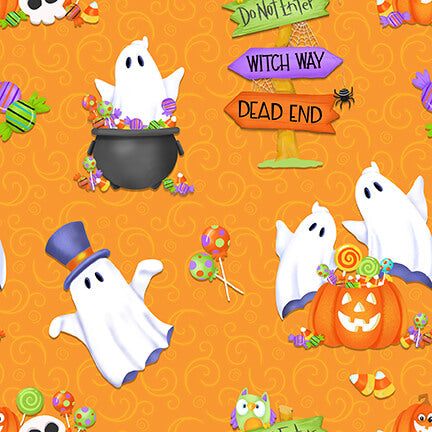 Glow Ghosts Tossed Ghosts, Pumpkins, and Candy Orange - Priced by the Half Yard - brewstitched.com