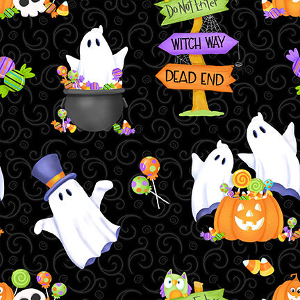 Glow Ghosts Tossed Ghosts, Pumpkins, and Candy Black - Priced by the Half Yard - brewstitched.com
