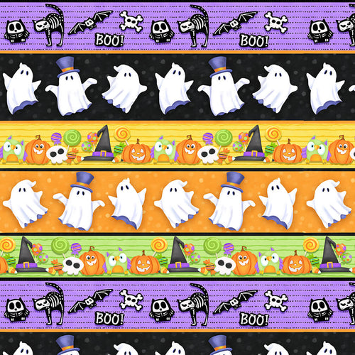 Glow Ghosts Novelty Glow Stripe - Priced by the Half Yard - brewstitched.com
