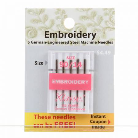 Klasse Carded Embroidery Machine Needle Size 14/90 - Includes 5 Needles - brewstitched.com