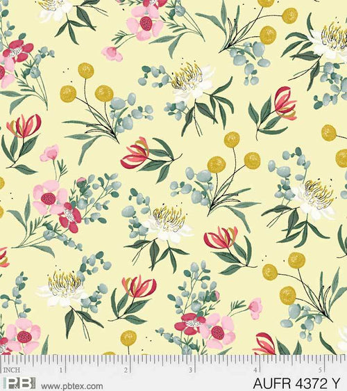 Aussie Friends Floral Yellow - Priced by the Half Yard - brewstitched.com