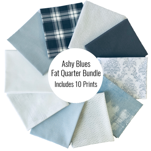 Ashy Blues Fat Quarter Bundle - Includes 10 Prints - brewstitched.com
