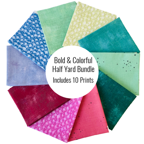 Bold & Colorful Half Yard Bundle - Includes 10 Prints - brewstitched.com