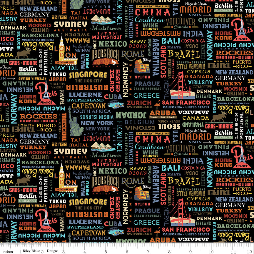 Destinations World Destinations Black - Priced by the Half Yard - brewstitched.com
