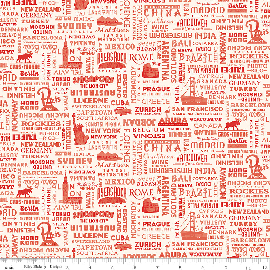 Destinations World Destinations Red - Priced by the Half Yard - brewstitched.com