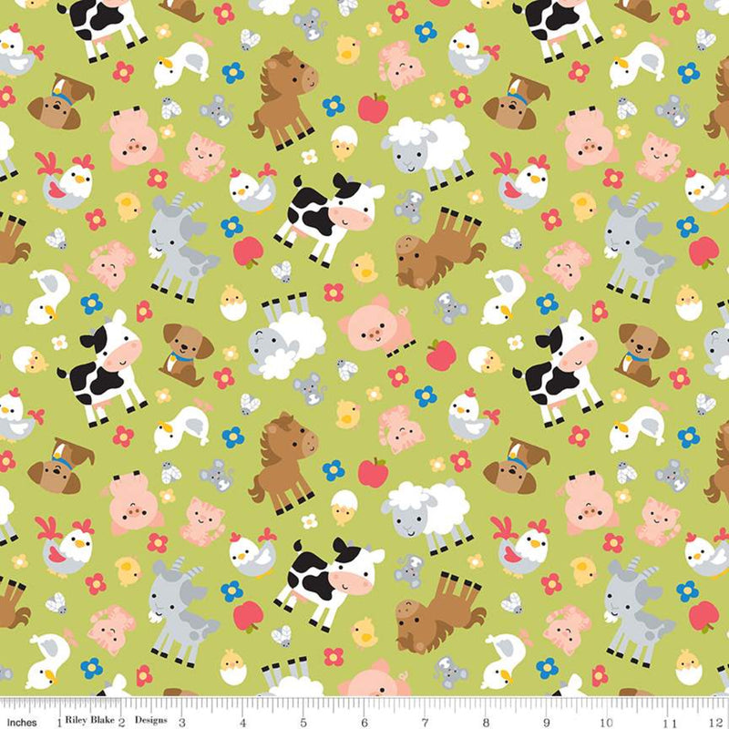 Down on the Farm Animals Green - Priced by the Half Yard - brewstitched.com