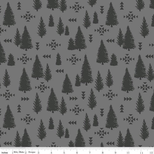 Timberland Tracks Trees Gray - Priced by the Half Yard - Expected Feb 2021 - brewstitched.com