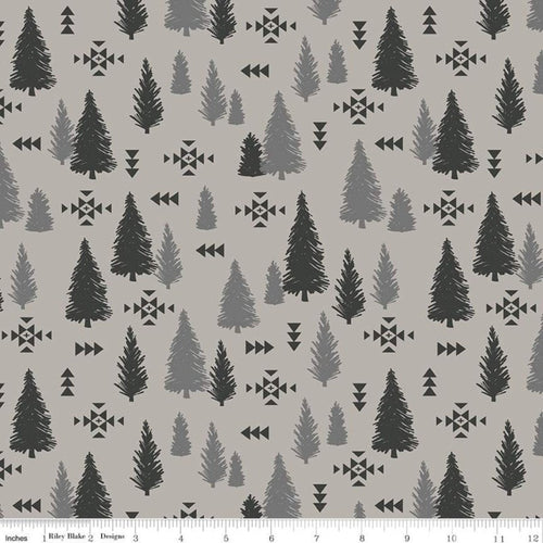 Timberland Tracks Trees Light Gray - Priced by the Half Yard - Expected Feb 2021 - brewstitched.com
