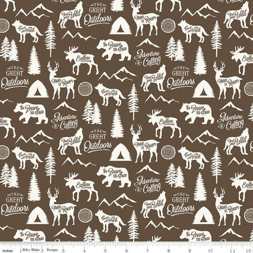 Adventure is Calling Main Brown - Priced by the Half Yard - Expected June 2021 - brewstitched.com