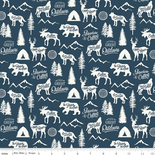 Adventure is Calling Main Navy - Priced by the Half Yard - Expected June 2021 - brewstitched.com