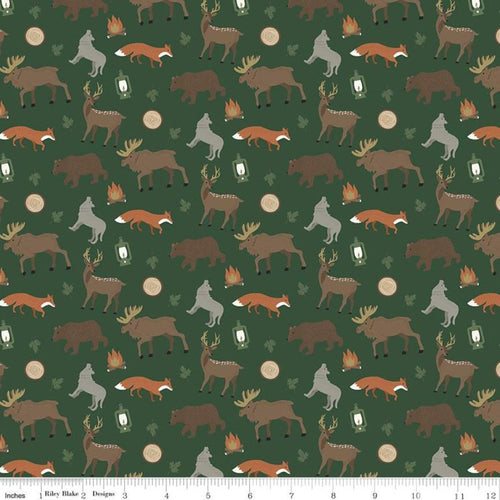 Adventure is Calling Wildlife Green - Priced by the Half Yard - Expected June 2021 - brewstitched.com