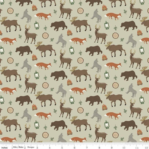 Adventure is Calling Wildlife Khaki - Priced by the Half Yard - Expected June 2021 - brewstitched.com