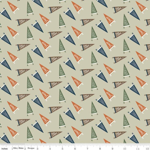 Adventure is Calling Flags Khaki - Priced by the Half Yard - Expected June 2021 - brewstitched.com