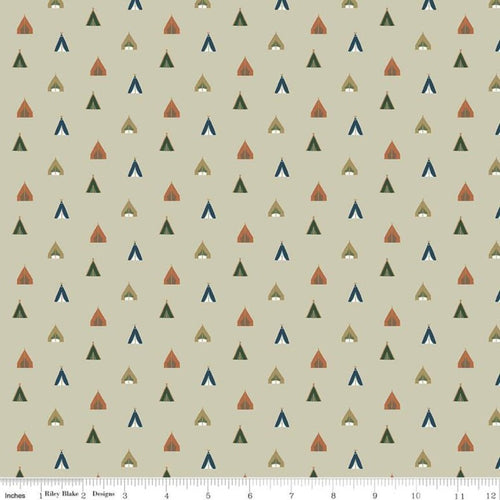 Adventure is Calling Tents Khaki - Priced by the Half Yard - Expected June 2021 - brewstitched.com