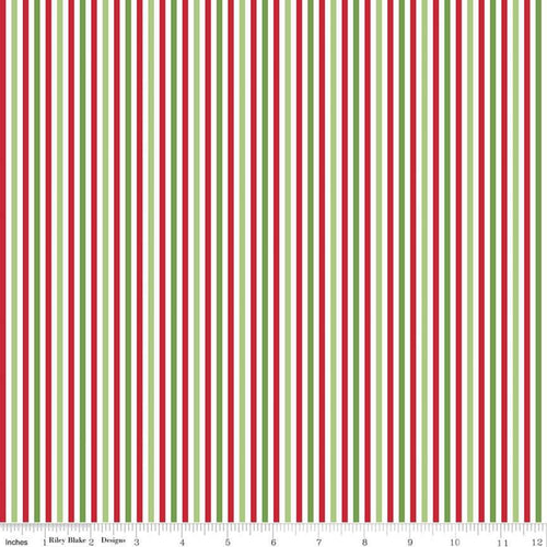 1/8 inch Christmas Stripes - Priced by the Half Yard - brewstitched.com