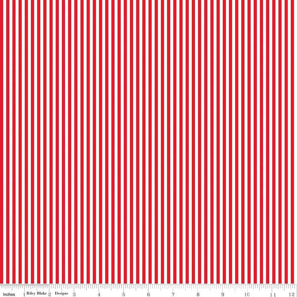 1/8 inch Red and White Stripes - Priced by the Half Yard - brewstitched.com