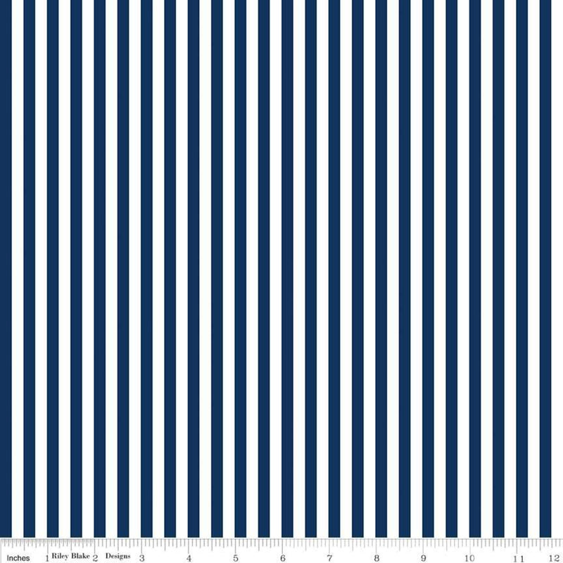 1/4 inch Stripe Navy - Priced by the Half Yard - brewstitched.com