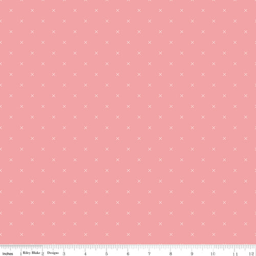 Bee Cross Stitch Coral - Priced by the Half Yard - Expected Jan 2021 - brewstitched.com