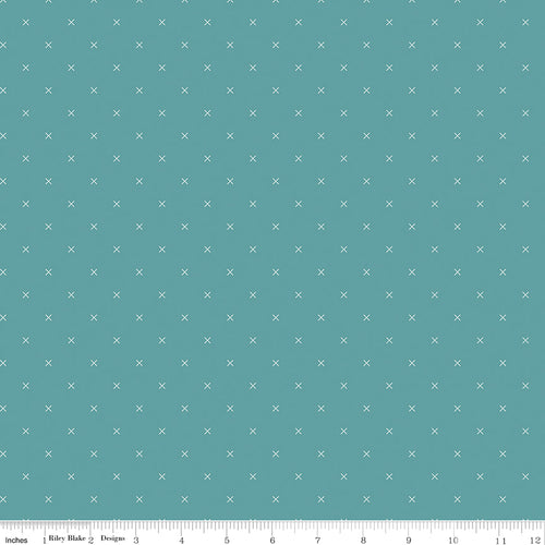 Bee Cross Stitch Riley Teal - Priced by the Half Yard - Expected Jan 2021 - brewstitched.com