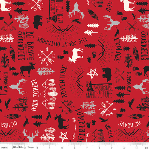 Wild at Heart Main Red - Priced by the Half Yard - brewstitched.com