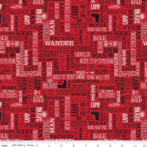 Wild at Heart Words Red - Priced by the Half Yard - brewstitched.com