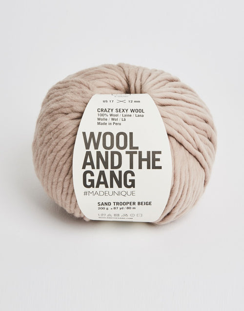 Wool and the Gang Crazy Sexy Wool Yarn in Sand Trooper Beige - brewstitched.com