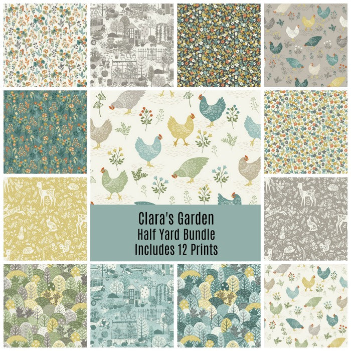 Clara's Garden Half Yard Bundle - Includes 12 Prints - Coming Oct 2020 - brewstitched.com