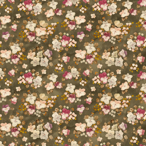 Marcel Floral Gray - Priced by the half yard - brewstitched.com