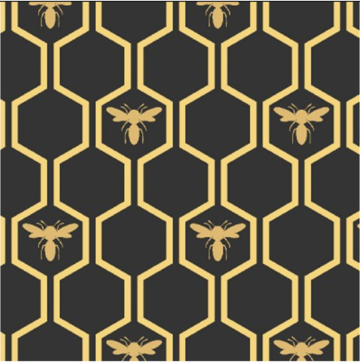 Queen Bee Gold Bees - Priced by the Half Yard - brewstitched.com