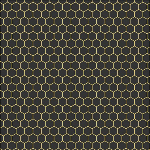 Queen Bee Black and Yellow Honeycomb - Priced by the Half Yard - brewstitched.com