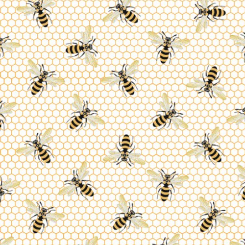 Queen Bee Cream Bees and Honeycomb - Priced by the Half Yard - brewstitched.com