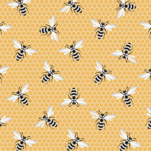 Queen Bee Gold Bees and Honeycomb - Priced by the Half Yard - brewstitched.com